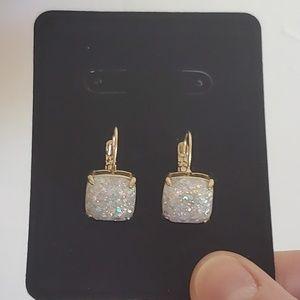 New Kate Spade White glitter sparkle earrings
